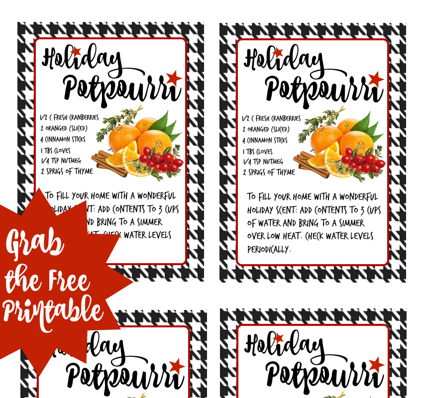 Stive Top Potpourri Printable Tags- #ShareTheHoliday with Rubbermaid TakeAlongs from Walmart. Package and share homemade treats and gifts. AD