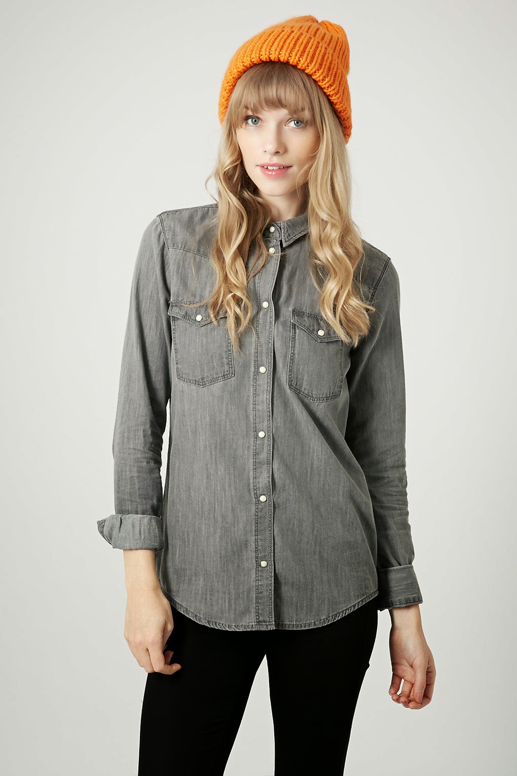 topshop grey denim shirt, grey denim shirt,