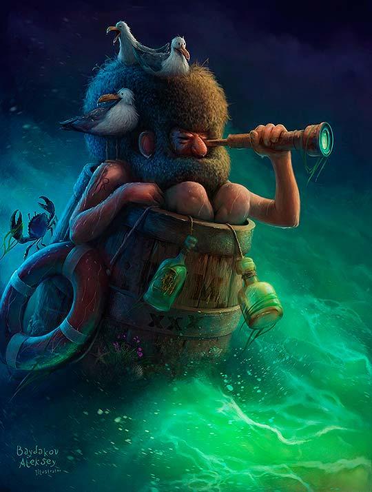 Destacado. Ilustración y personajes de Aleksey Baydakov