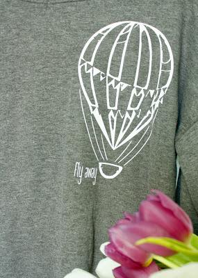 Latajacy balon- szara bluza
