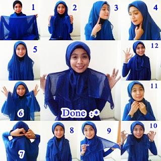 gambar cara memakai jilbab segi empat