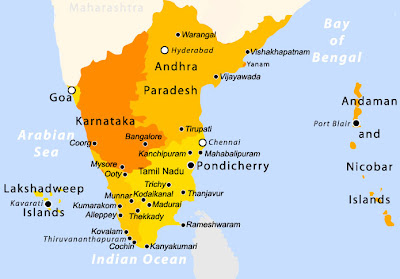 Tourist Map Of South India