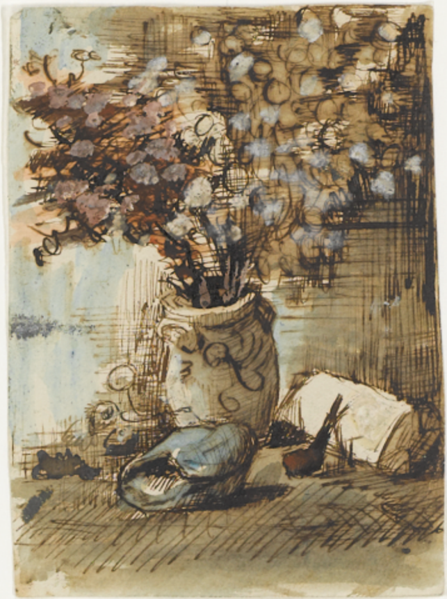 Honesty in a Vase drawing (F NONE, JH 726) by Vincent van Gogh