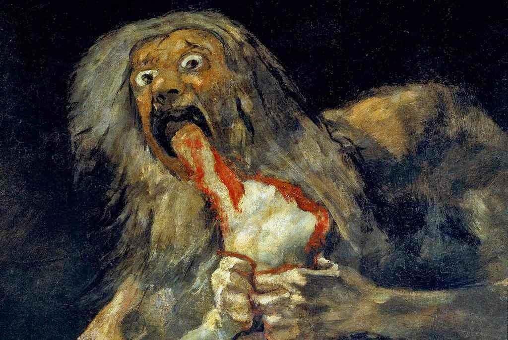 """""""Saturno devorando a su hijo"""", Francisco de Goya (1746 -1828) A era do laicismo tende a legalizar costumes pagãos que causam horror."""