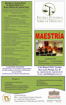 MAESTRÍA EN DERECHO PENAL, CON ESPECIALIDAD EN EL NUEVO SISTEMA DE JUSTICIA PENAL.