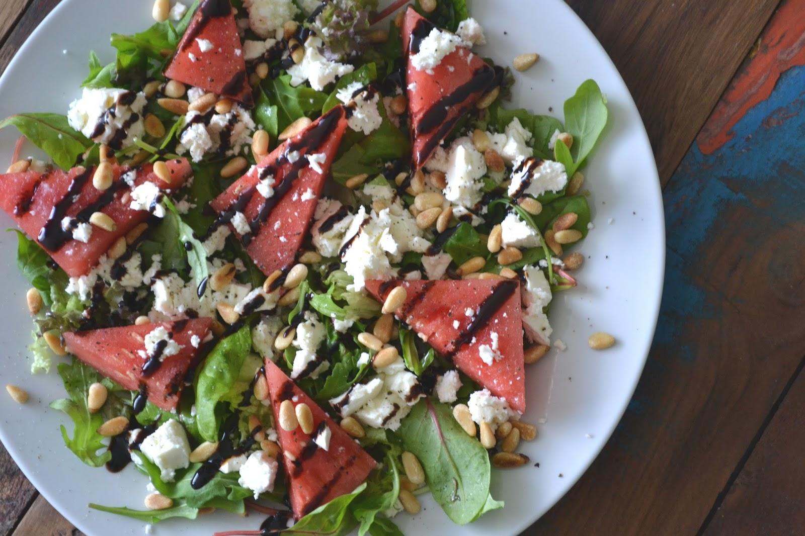 salade met feta en watermeloen