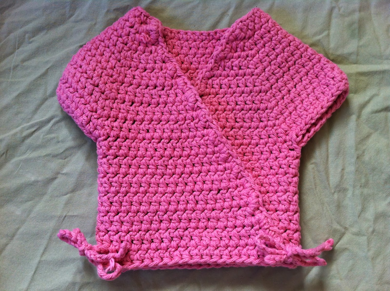 Crochet Patterns For Baby Washcloths : Crochet Baby Kimono Wrap Cardigan - Free Pattern Not My ...
