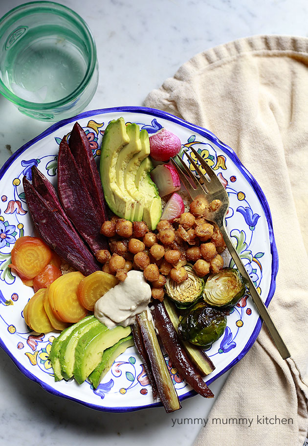 vegan nourish bowl with chickpeas