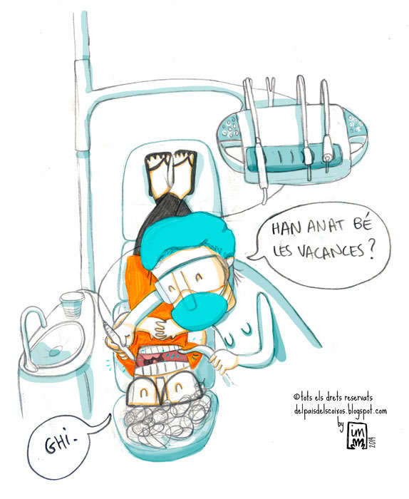 Visita al dentista. Vinyeta còmica il·lustrada.©Imma Mestre Cunillera