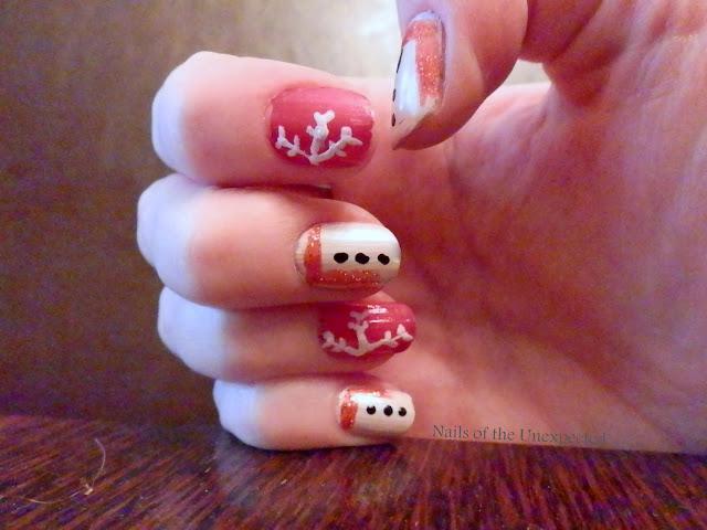 Snowman snowflakes nails