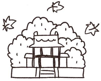 紅葉のイラスト「お寺と森」線画