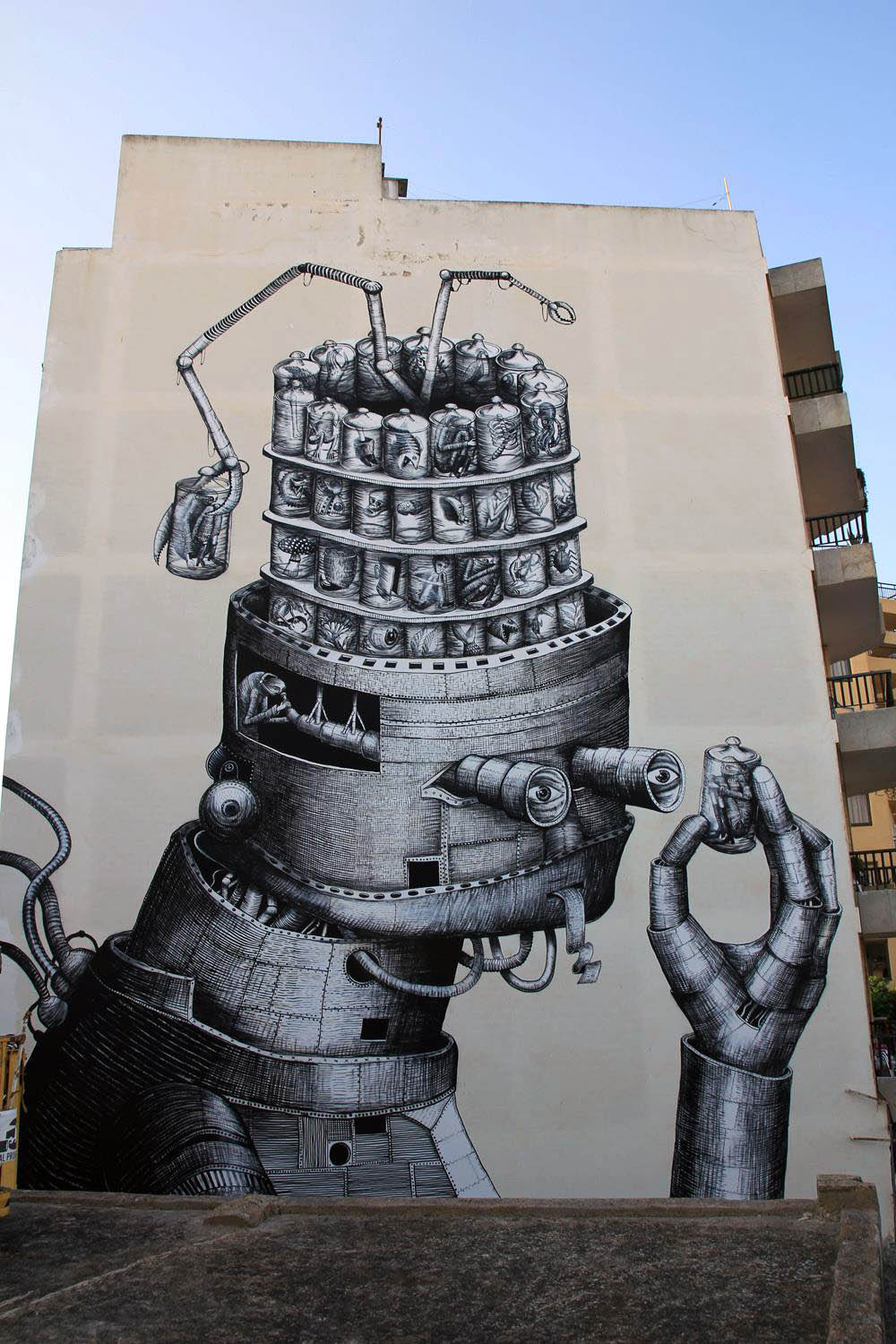 phlegm new mural in ibiza spain streetartnews streetartnews. Black Bedroom Furniture Sets. Home Design Ideas