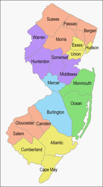 Map of New Jersey counties