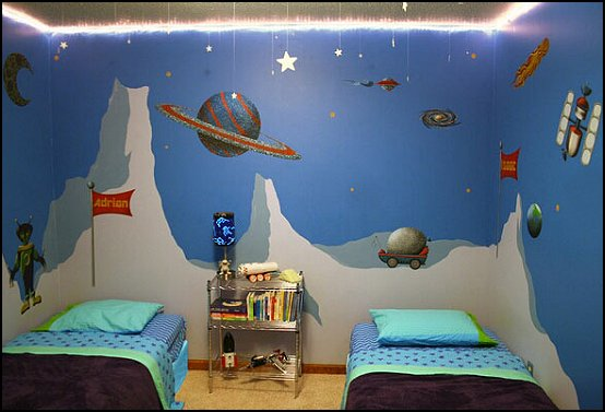 Outer Space Theme Wall Mural Stencil Kit For Kid S Room