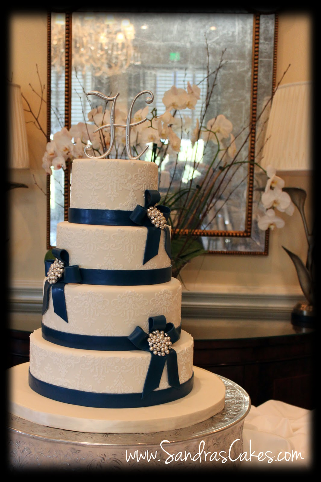 Silver And Navy Blue Wedding Cakes