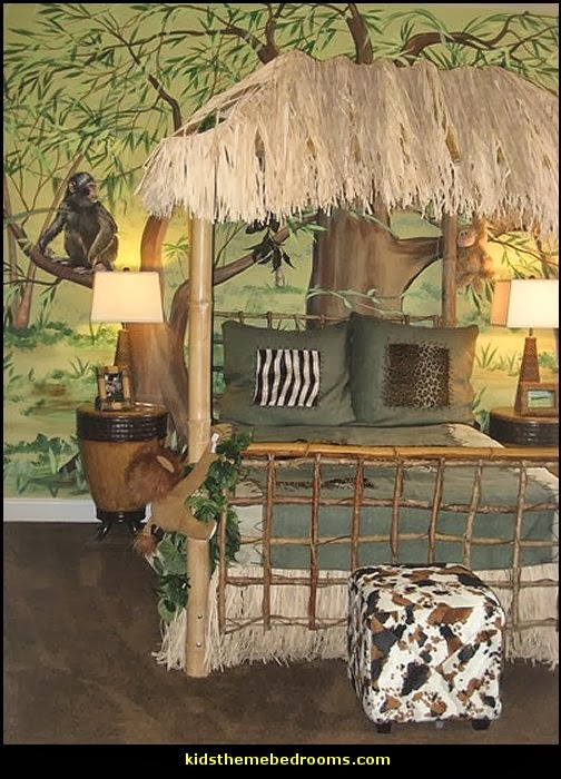 safari bedroom ideas - tropical jungle theme - 3D Safari Wall Art
