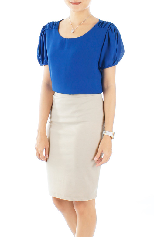 Cobalt Blue Primrose Gathered Pleat Blouse with Sleeves