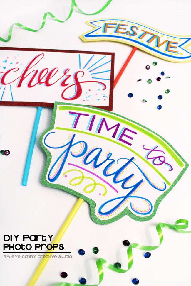 hand lettered photo props, DIY photo props, tombow, time to party