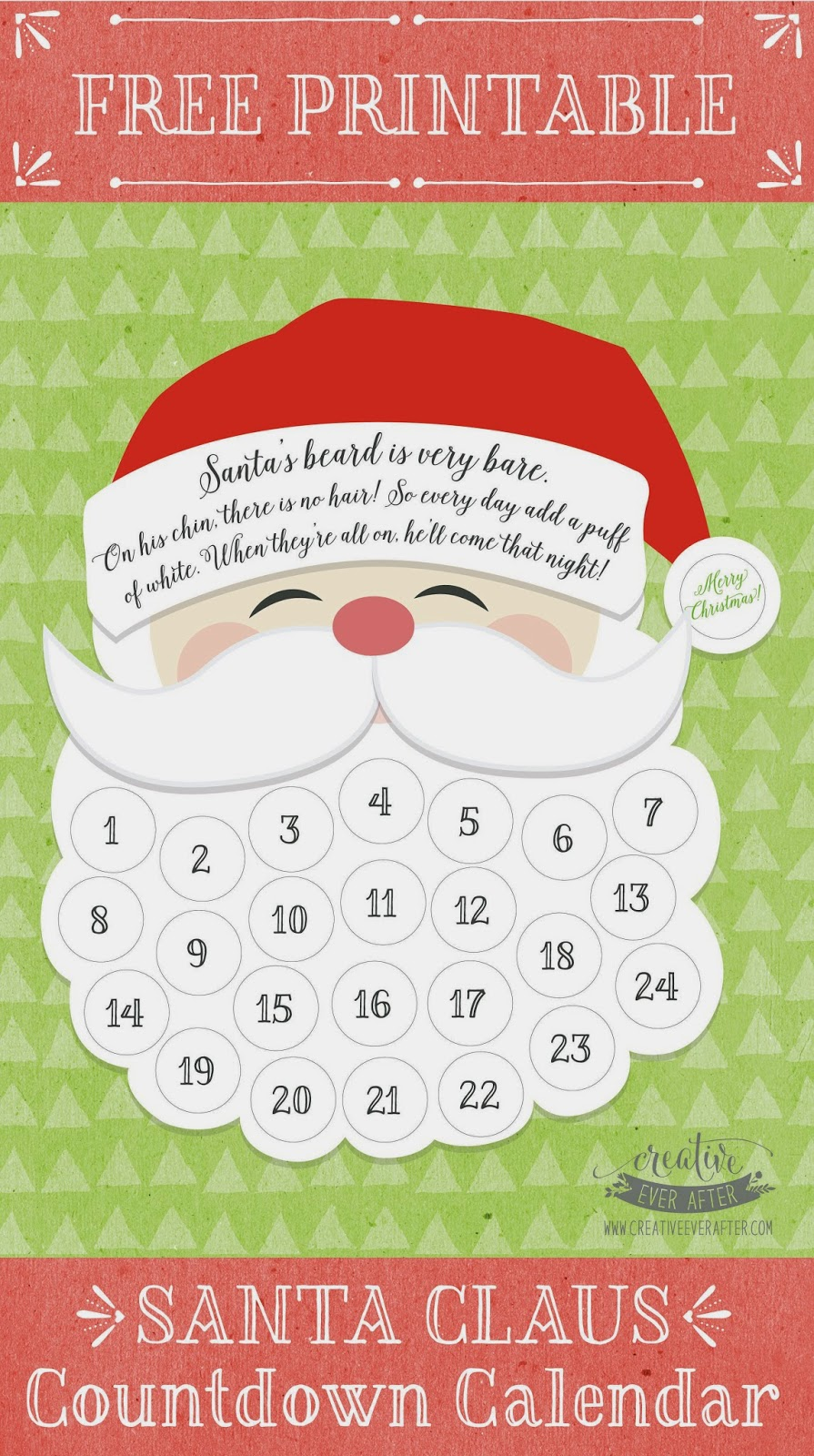 free printable santa claus beard countdown calendar creative ever after. Black Bedroom Furniture Sets. Home Design Ideas