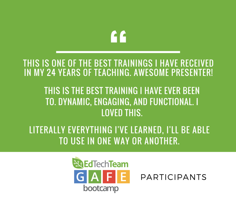 Host an edtechteam google certification bootcamp for free principals and administrators are finding that teachers walk away from our bootcamp events energized to become certified and empowered to try new things in pronofoot35fo Choice Image