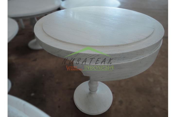 Narendra Round Tea Table in White Wash