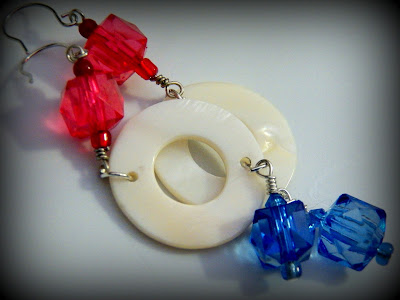 Red white and blue earrings - JewelsByDesikalakar