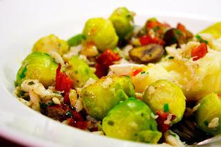 Cod, Chorizo, Sprouts & Chestnuts