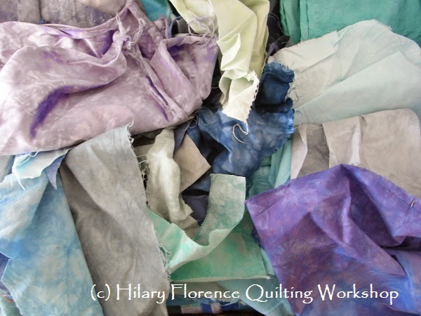 Hand dyed fabric, procion dyes, piecing, random piecing, quilting, quilt top