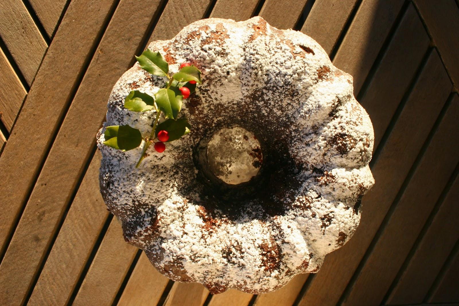 Whiskey-Soaked Dark Chocolate Bundt Cake with holly