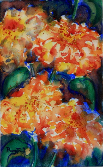 Sensation Fine Art Watercolor painting on Paper Color sense, Zinnia Sonata series, Two of Eight