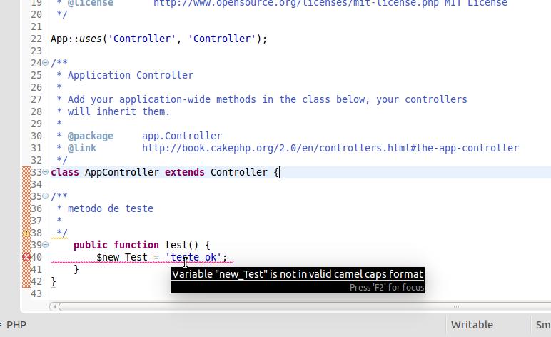 PHP CodeSniffer em funcionamento