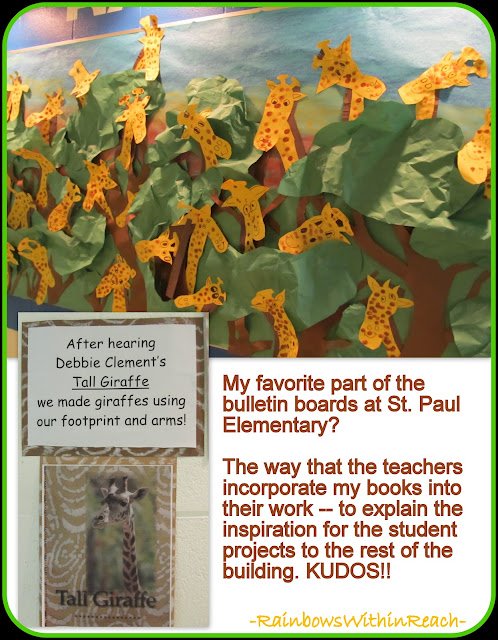 "photo of: Author Illustrator School Visit: Debbie Clement for ""Tall Giraffe"" Bulletin Board response"