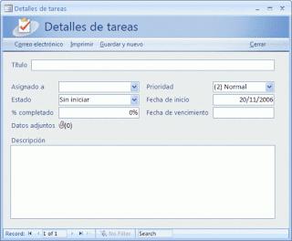 base de datos de tareas