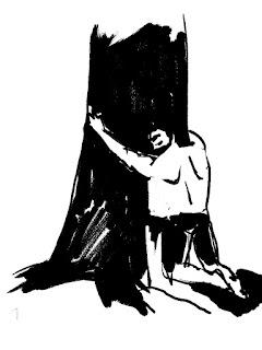 Kerl wie ein Baum, der einen Baum umarmt