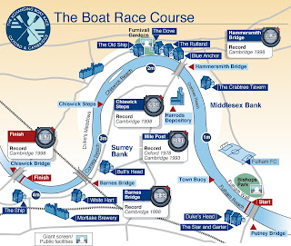 El recorrido de la Regata Oxford - Cambridge.- The Boat Race Course Oxford - Cambridge