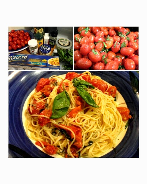 Red poppy pink peony spring 2014 brooklyn eats Ina garten capellini with tomatoes and basil