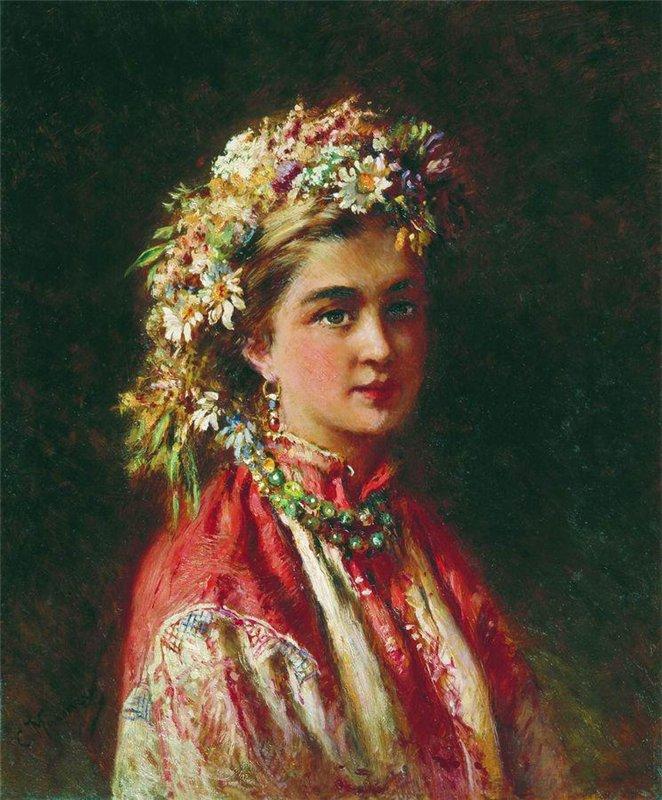 Портрет девушки в венке из полевых цветов типляшина евгения / фотобанк лори