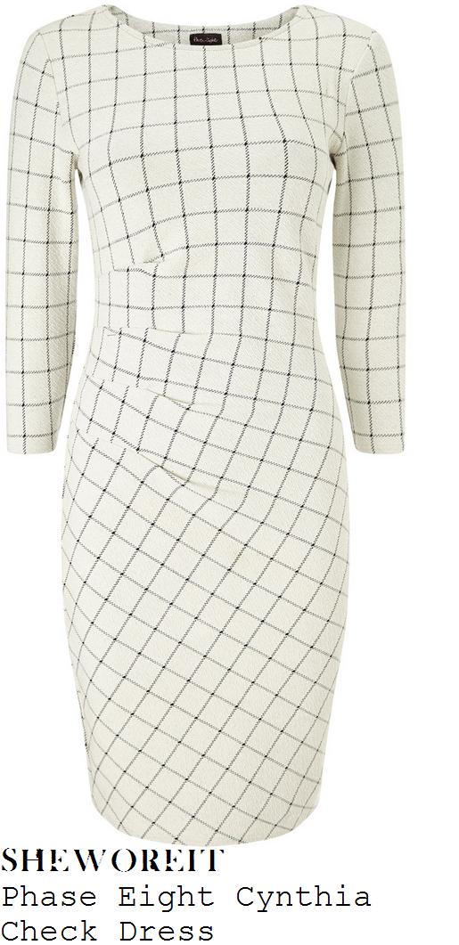 charlotte-hawkins-cream-black-grid-check-print-three-quarter-sleeve-ruched-pencil-dress-good-morning-britain