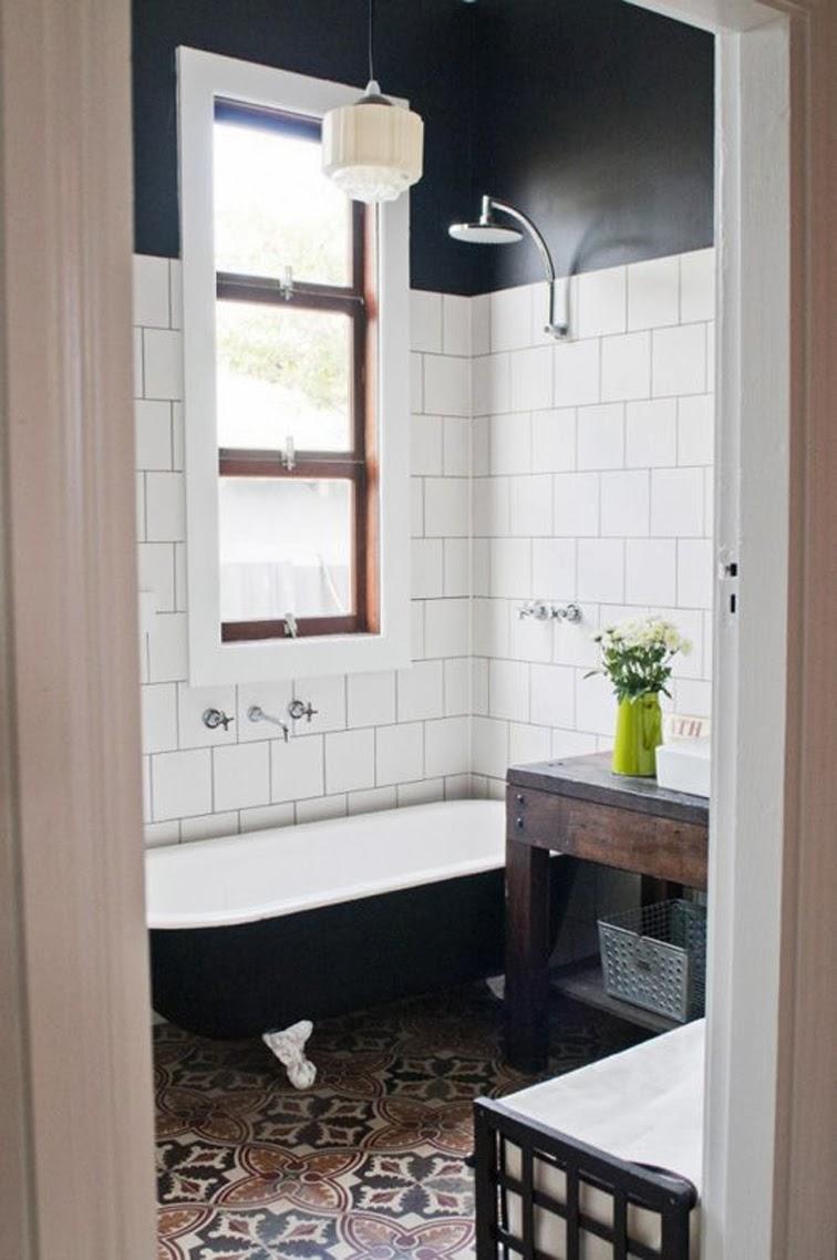 Etica studios bathroom, subway tiles, mediterranean floor tiles, photographed by Meghan Plowman
