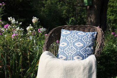 blue ikat pillow cover