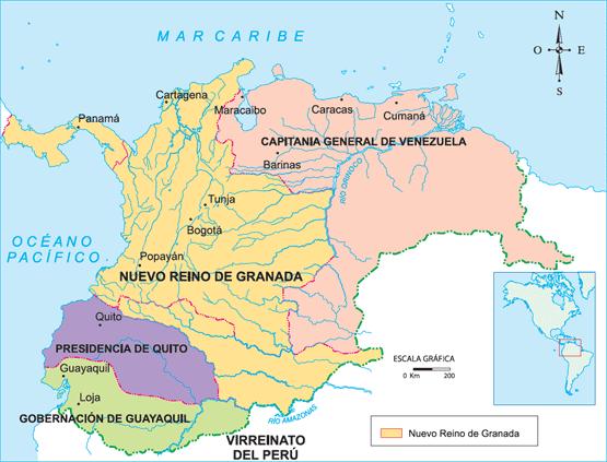 Ciencias Sociales: Mapa del Virreinato de la Nueva Granada