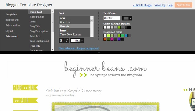 beginner blog design blogger template