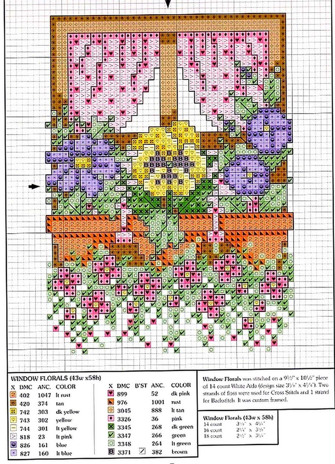 Scarica schemi a punto croce e for Finestra con fiori disegno