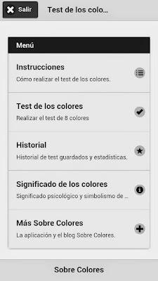Aspecto de la pantalla principal de la app Test de los Colores en diciembre de 2014