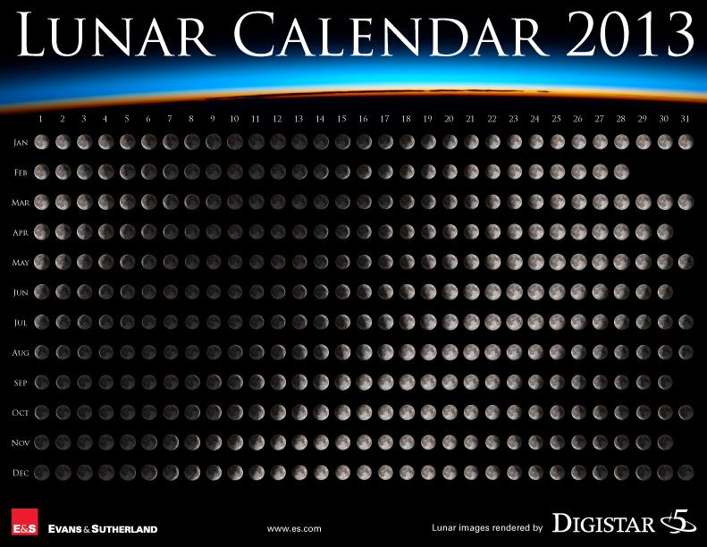 Calendario Lunar 2013 . RSC .