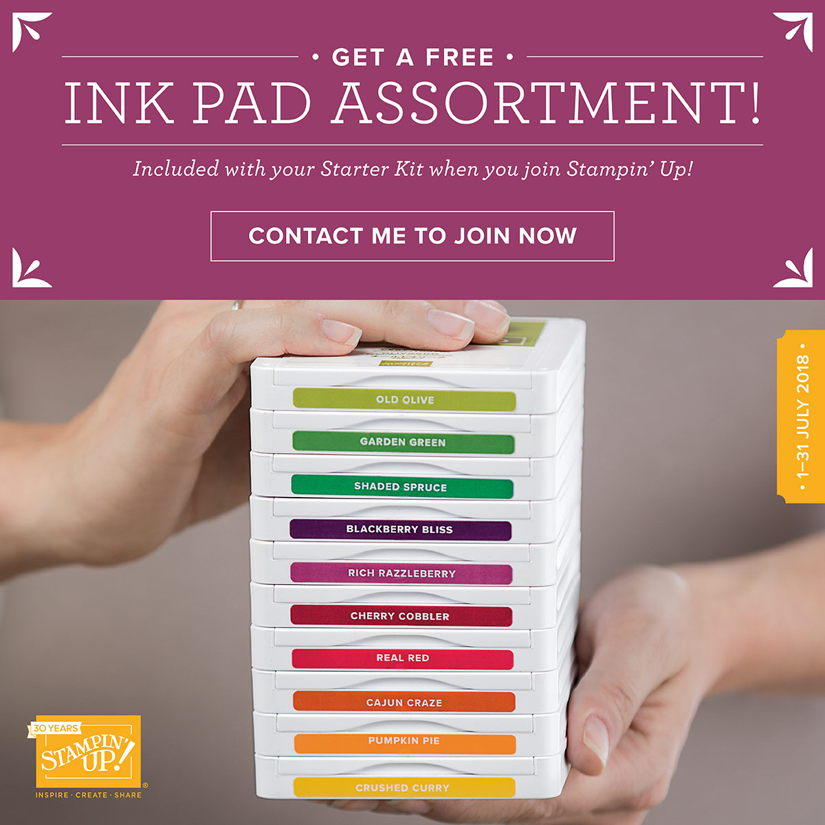 Join Stampin Up with free ink pads