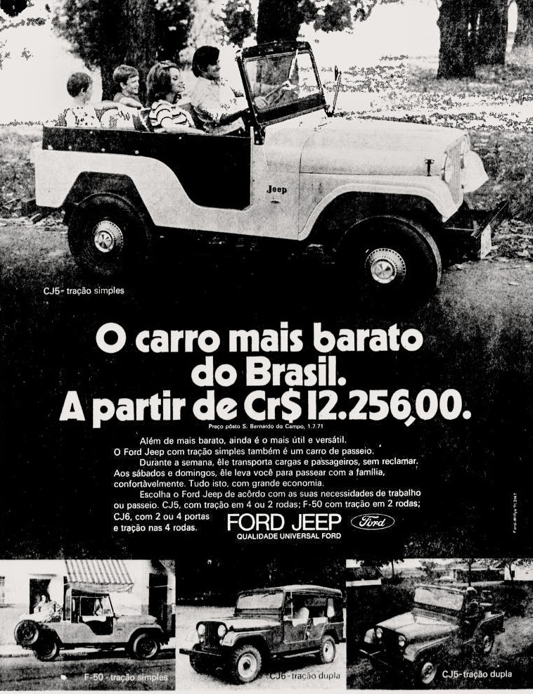 1971; brazilian advertising cars in the 70s; os anos 70; história da década de 70; Brazil in the 70s; propaganda carros anos 70; Oswaldo Hernandez;