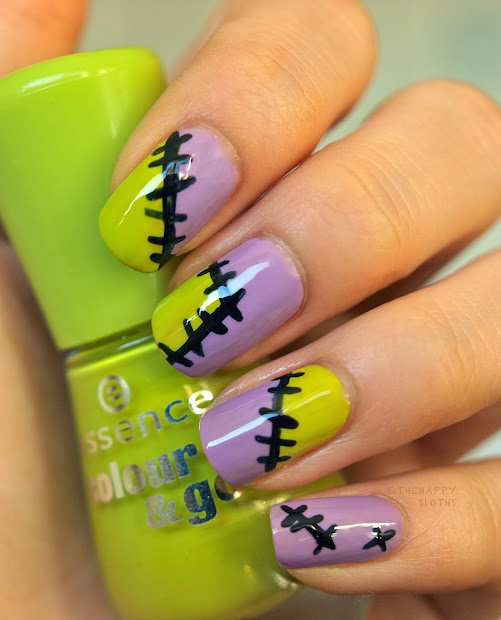 patched halloween nail