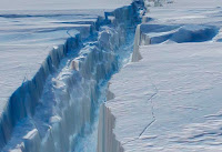 A crack in the fast-moving Pine Island glacier in West Antarctica. (Image Credit: NASA Goddard Space Flight Center via Flickr) Click to Enlarge.
