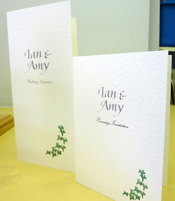 The Daytime invitations were a long thin DL shape and the Evening Invites